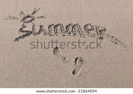 "Word ""summer"" which is written on sea sand"