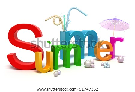 Word summer with colourful letters