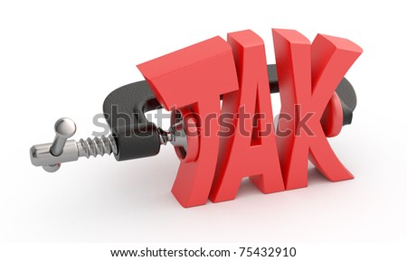 Word tax in clamp, tax reduction concept.