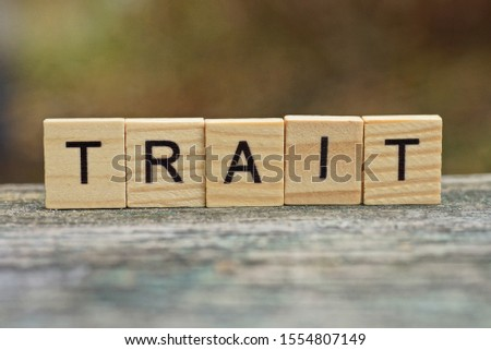 word trait made of brown wooden letters on a gray table