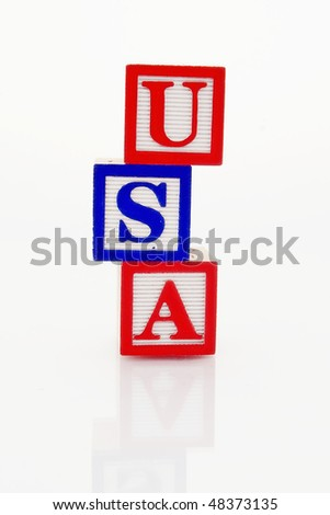 Word USA you in wooden blocks