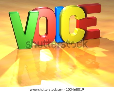 Word Voice on yellow background (high resolution 3D image)