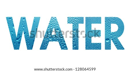 word Water with a drops isolated on white background