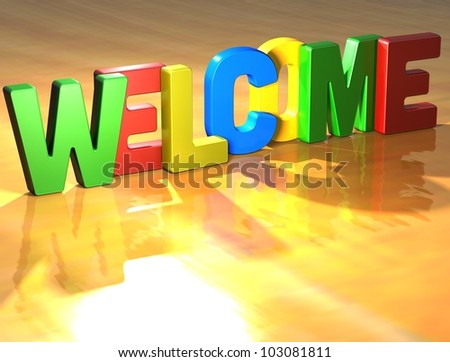 Word Welcome on yellow background (high resolution 3D image)