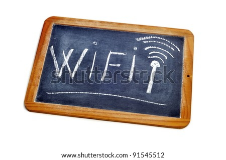 word wifi written in a blackboard on a white background