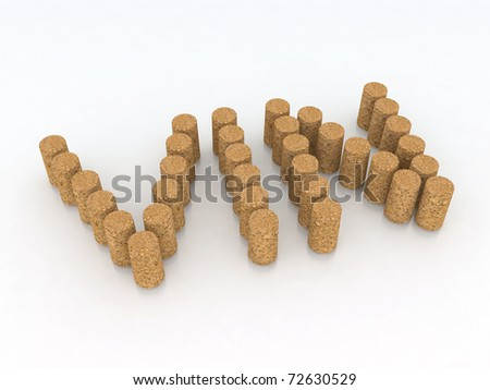 "word ""wine"" in French with corks"