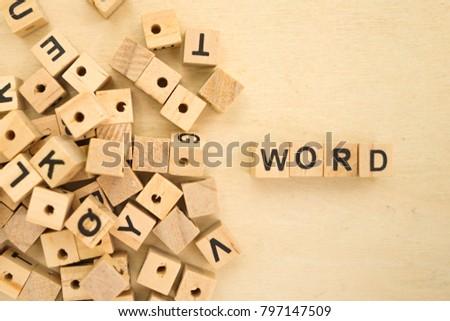 Word Word Written In Wooden Cube #797147509