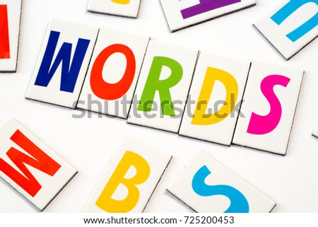 word words made of colorful letters on white background #725200453
