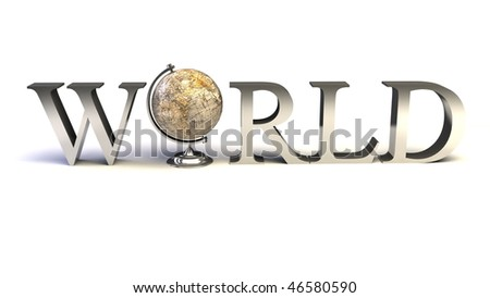 word World with 3D globe replacing letter O