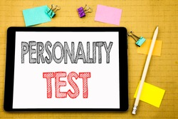 Word, writing Personality Test. Business concept for Attitude Assessment Written on laptop, wooden background with sticky note and pen