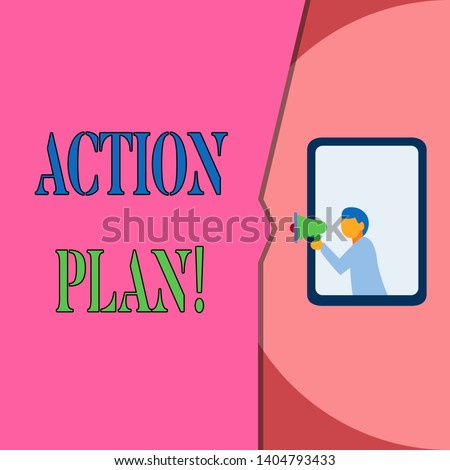 Word writing text Action Plan. Business concept for proposed strategy or course of actions for certain time Isolated geometrical background man chest holding megaphone speech bubble.