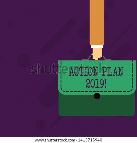 Word writing text Action Plan 2019. Business concept for proposed strategy or course of actions for current year Businessman Hand Carrying Colorful Briefcase Portfolio with Stitch Applique.