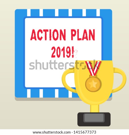 Word writing text Action Plan 2019. Business concept for proposed strategy or course of actions for current year Trophy Cup on Pedestal with Plaque Decorated by Medal with Striped Ribbon.