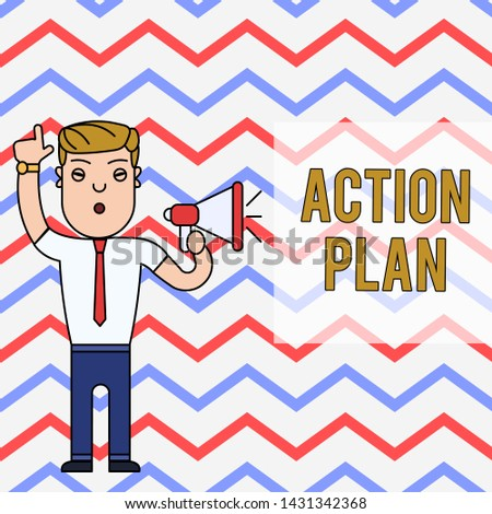 Word writing text Action Plan. Business concept for proposed strategy or course of actions for certain time Man Standing with Raised Right Index Finger and Speaking into Megaphone.
