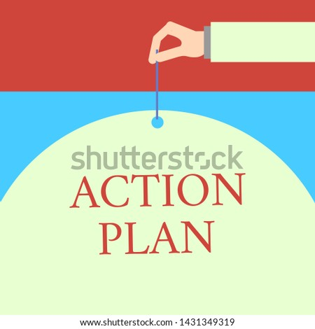 Word writing text Action Plan. Business concept for proposed strategy or course of actions for certain time Male hand arm needle punching big half blank balloon geometrical background.