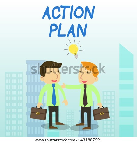Word writing text Action Plan. Business concept for proposed strategy or course of actions for certain time Two White Businessmen Colleagues with Brief Cases Sharing Idea Solution.