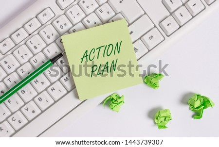 Word writing text Action Plan. Business concept for proposed strategy or course of actions for certain time. #1443739307
