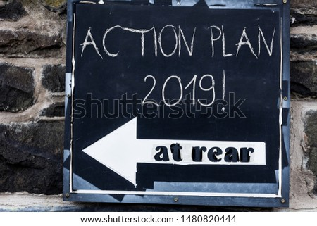Word writing text Action Plan 2019. Business concept for proposed strategy or course of actions for current year Advertisement concept with empty copy space on the road sign. #1480820444