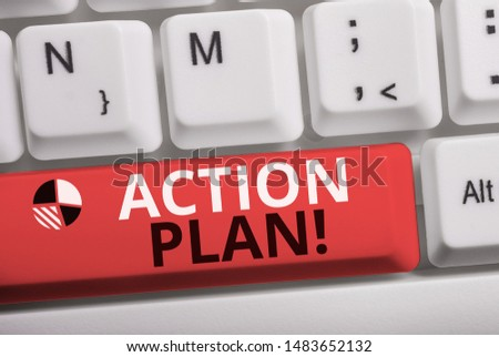 Word writing text Action Plan. Business concept for proposed strategy or course of actions for certain time White pc keyboard with empty note paper above white background key copy space.