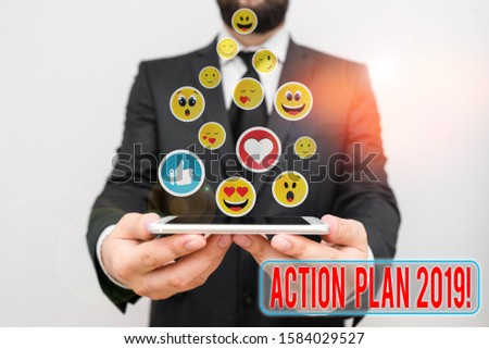 Word writing text Action Plan 2019. Business concept for proposed strategy or course of actions for current year.