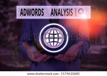 Word writing text Adwords Analysis. Business concept for monitor campaigns and ensuring investment returns in ads.