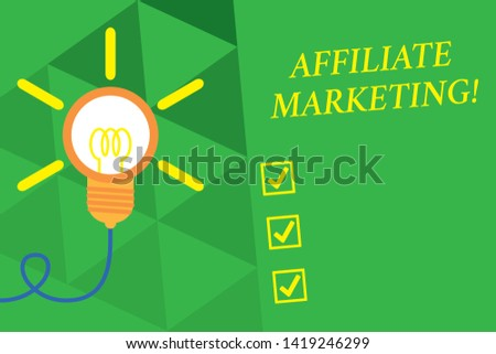 Word writing text Affiliate Marketing. Business concept for Promoting another demonstratings product Earning a Commission Big idea light bulb. Successful turning idea invention innovation. Startup.