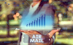 Word writing text Air Mail. Business concept for the bags of letters and packages that are transported by aircraft.