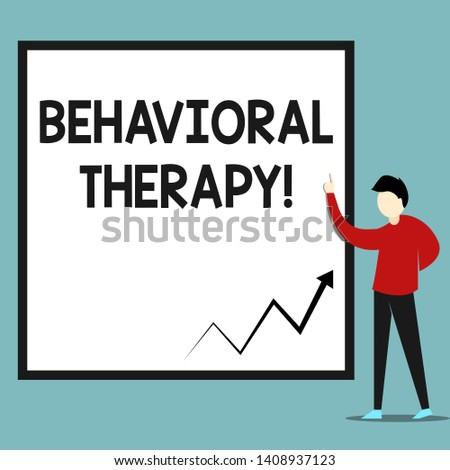 Word writing text Behavioral Therapy. Business concept for help change potentially selfdestructive behaviors Zigzag arrow line diagram chart presented in white big board by lecturer.