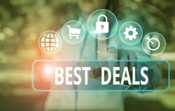 Word writing text Best Deals. Business concept for very successful transaction or business agreement or a bargain.