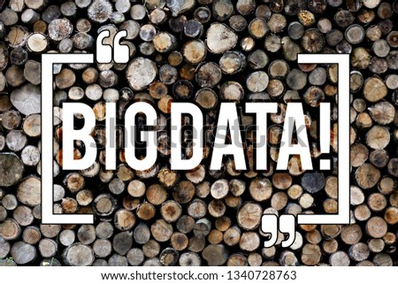 Word writing text Big Data. Business concept for Large amount of information that needs to be analyzed by computers Wooden background vintage wood wild message ideas intentions thoughts. #1340728763