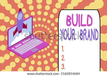 Word writing text Build Your Brand. Business concept for enhancing brand equity using advertising campaigns Rocket launching clouds laptop background. Startup project growing. SEO.