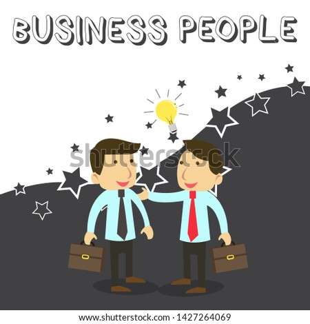 Word writing text Business People. Business concept for People who work in business especially at an executive level Two White Businessmen Colleagues with Brief Cases Sharing Idea Solution.