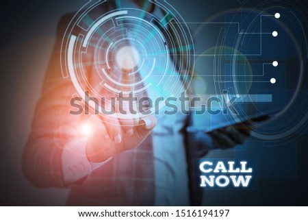 Word writing text Call Now. Business concept for To immediately contact a demonstrating using telecom devices with accuracy Woman wear formal work suit presenting presentation using smart device. Foto stock ©