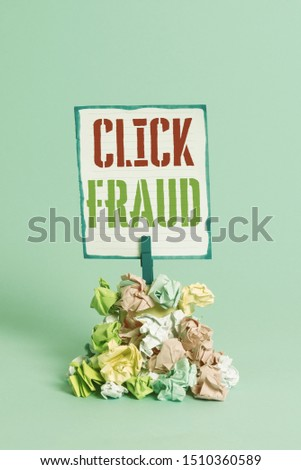Word writing text Click Fraud. Business concept for practice of repeatedly clicking on advertisement hosted website Reminder pile colored crumpled paper clothespin reminder blue background. #1510360589