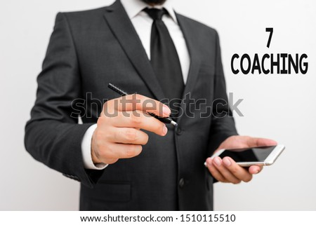 Word writing text 7 Coaching. Business concept for Refers to a number of figures regarding business to be succesful.