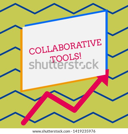 Word writing text Collaborative Tools. Business concept for Private Social Network to Connect thru Online Email Irregular edging arrow line on the bottom of parallelogram blank papers.