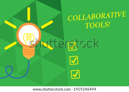 Word writing text Collaborative Tools. Business concept for Private Social Network to Connect thru Online Email Big idea light bulb. Successful turning idea invention innovation. Startup.