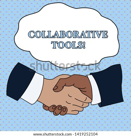 Word writing text Collaborative Tools. Business concept for Private Social Network to Connect thru Online Email Hand Shake Multiracial Male Business Partners Colleagues Formal Shirt Suit.