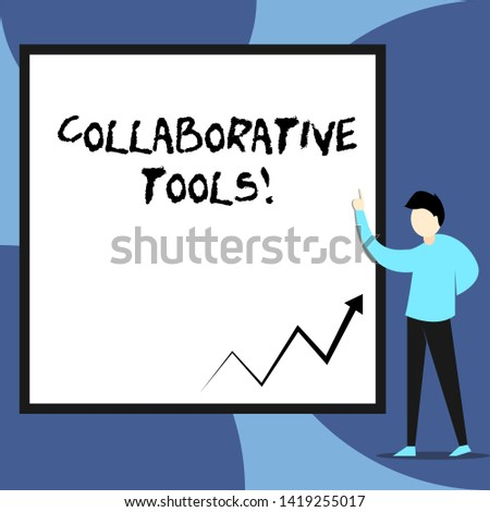 Word writing text Collaborative Tools. Business concept for Private Social Network to Connect thru Online Email View young man standing pointing up blank rectangle Geometric background.