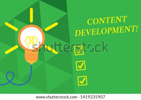 Word writing text Content Development. Business concept for Specialized in Graphic Design Multimedia Documentation Big idea light bulb. Successful turning idea invention innovation. Startup.