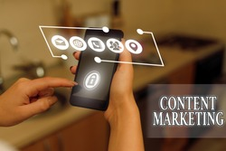 Word writing text Content Marketing. Business concept for involves the creation and sharing of online material.
