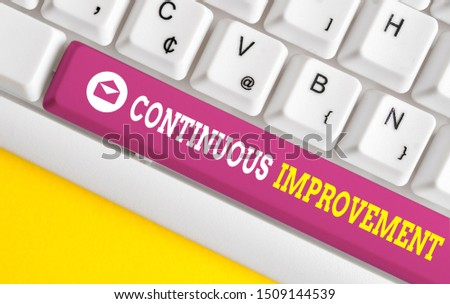 Word writing text Continuous Improvement. Business concept for ongoing effort to improve products or processes White pc keyboard with empty note paper above white background key copy space.