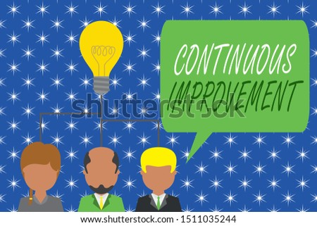 Word writing text Continuous Improvement. Business concept for ongoing effort to improve products or processes Group three executive persons sharing idea icon. Startup team meeting.