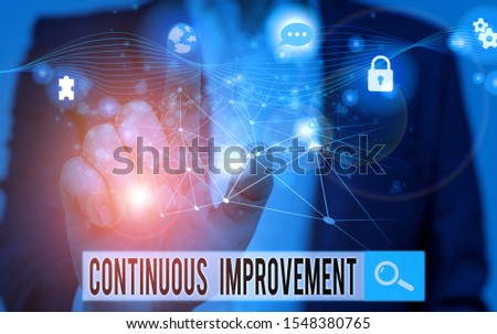 Word writing text Continuous Improvement. Business concept for ongoing effort to improve products or processes Picture photo system network scheme modern technology smart device.