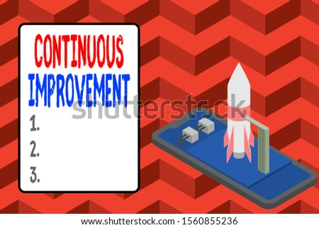 Word writing text Continuous Improvement. Business concept for ongoing effort to improve products or processes Ready to launch rocket lying smartphone. Startup negotiations to begin.