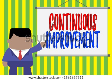 Word writing text Continuous Improvement. Business concept for ongoing effort to improve products or processes Businessman standing in front projector screen pointing project idea.
