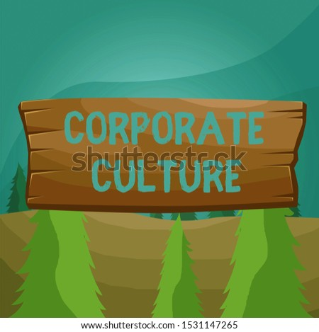 Word writing text Corporate Culture. Business concept for pervasive values and attitudes that characterize a company Plank wooden board blank rectangle shaped wood attached color background.