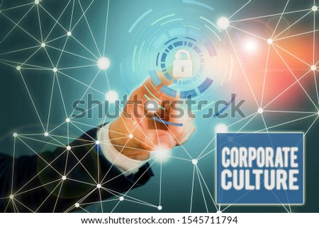 Word writing text Corporate Culture. Business concept for pervasive values and attitudes that characterize a company Picture photo system network scheme modern technology smart device.