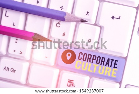 Word writing text Corporate Culture. Business concept for pervasive values and attitudes that characterize a company White pc keyboard with empty note paper above white background key copy space.