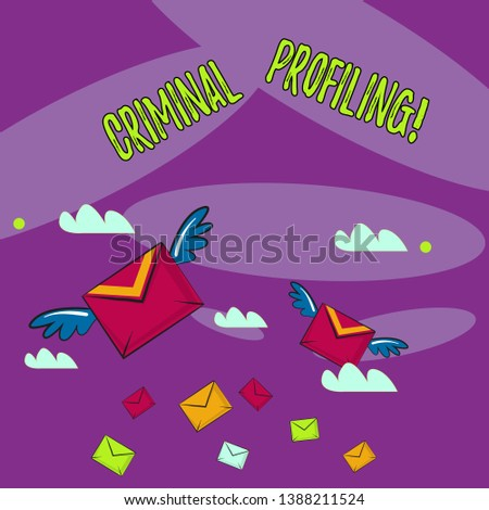 Word writing text Criminal Profiling. Business concept for Develop profiles for criminals who not yet apprehended Many Colorful Airmail Flying Letter Envelopes and Two of Them with Wings.